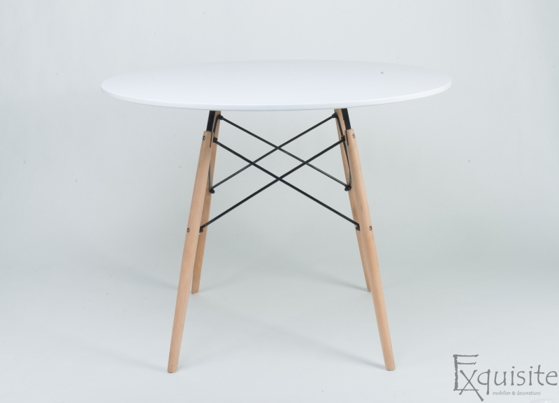 Masa de bucatarie, rotunda din MDF, diametru 100cm, EX1014, alb1