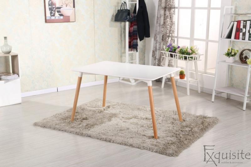 Masa de bucatarie, living MDF cu picioare din lemn, design Eames, EX10121