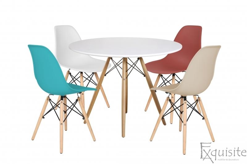 Masa rotunda din MDF 100cm cu 4 scaune pentru bucatarie2