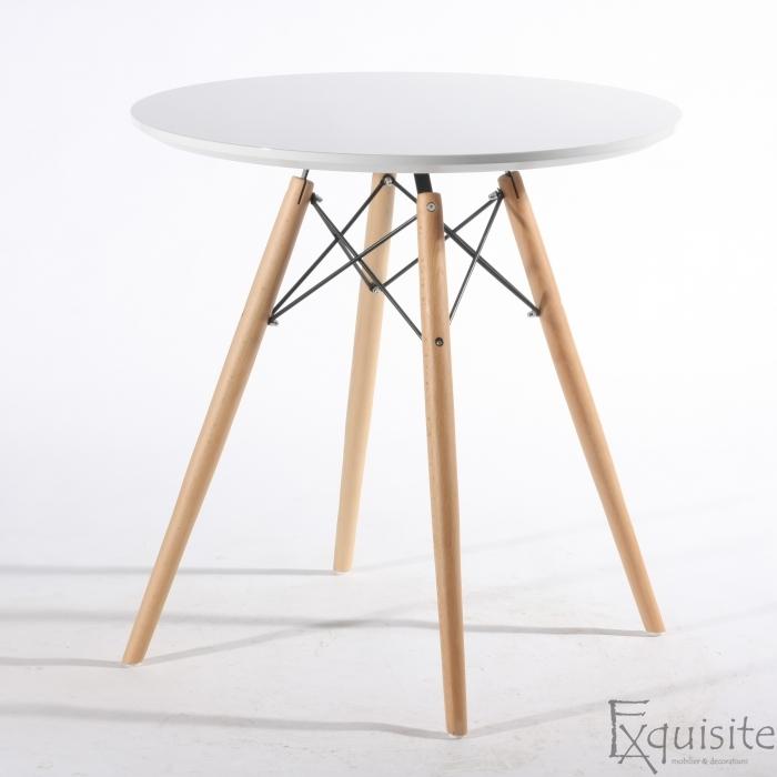 Masa rotunda din MDF cu picioare din lemn, diametru 80cm, blat alb1