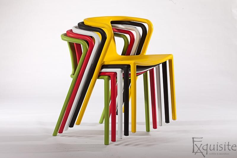 Scaun cu brate din plastic pentru terasa, Set 4 scaune 9