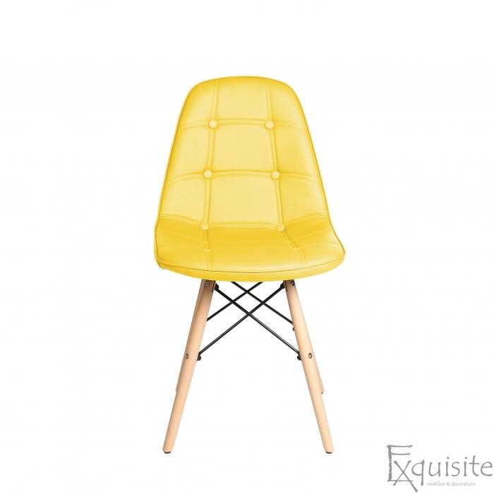 Scaun de bucatarie din piele ecologică si picioare din lemn3