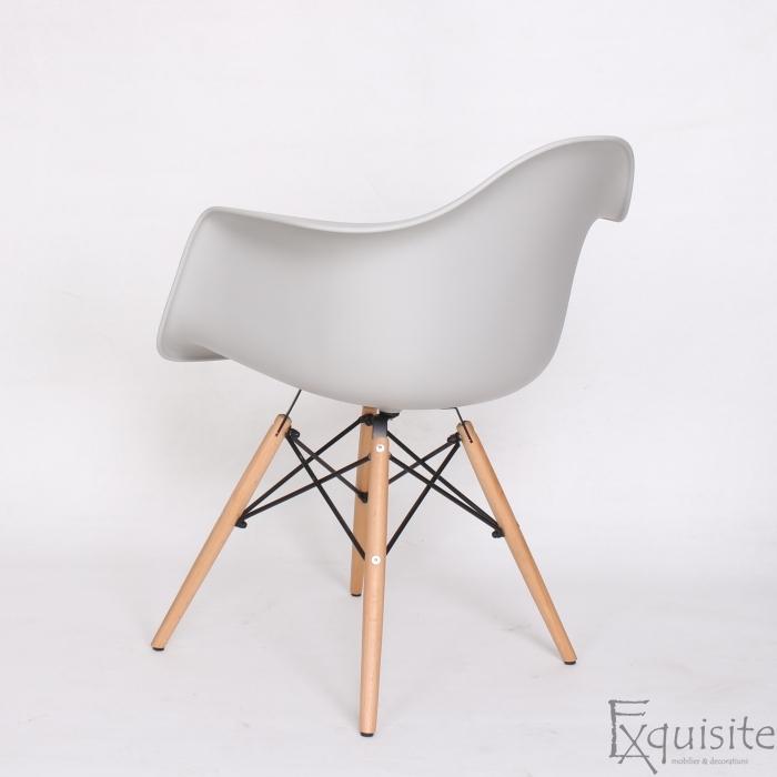 Scaun din plastic cu picioare din lemn - Set 4 bucati - EX082 Gri deschis5