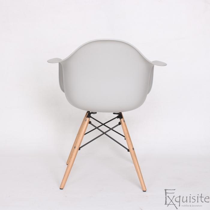 Scaun din plastic cu picioare din lemn - Set 4 bucati - EX082 Gri deschis6