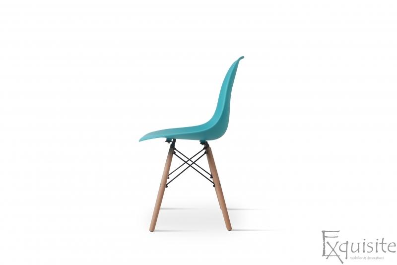 Scaun din plastic turcoaz cu picioare din lemn, Set 4 Scaune5