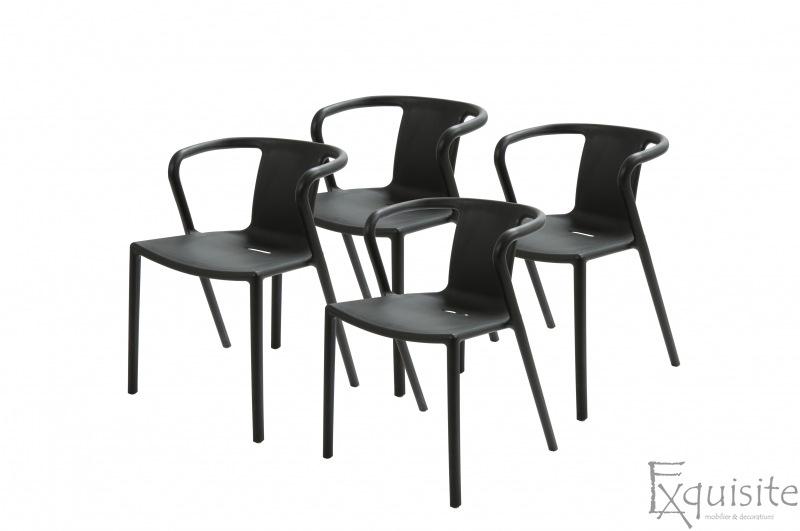 Scaun negru din plastic pentru terasa, Set 4 Scaune, EX0901