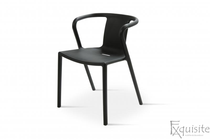 Scaun negru din plastic pentru terasa, Set 4 Scaune, EX0903