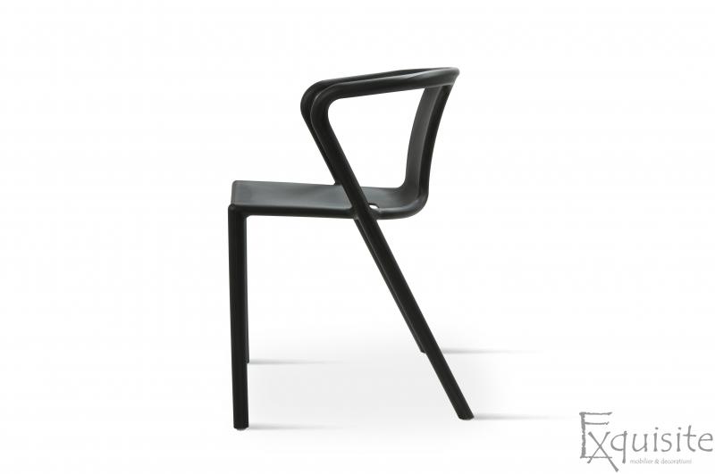 Scaun negru din plastic pentru terasa, Set 4 Scaune, EX0904