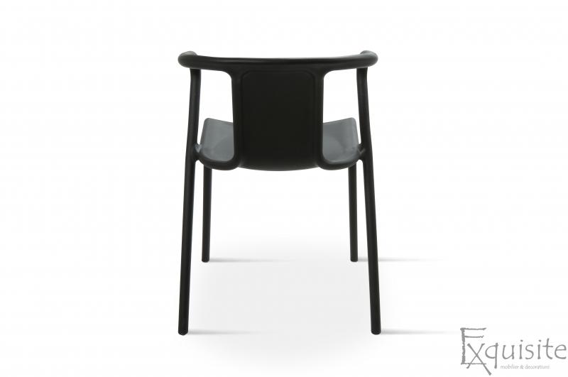 Scaun negru din plastic pentru terasa, Set 4 Scaune, EX0905
