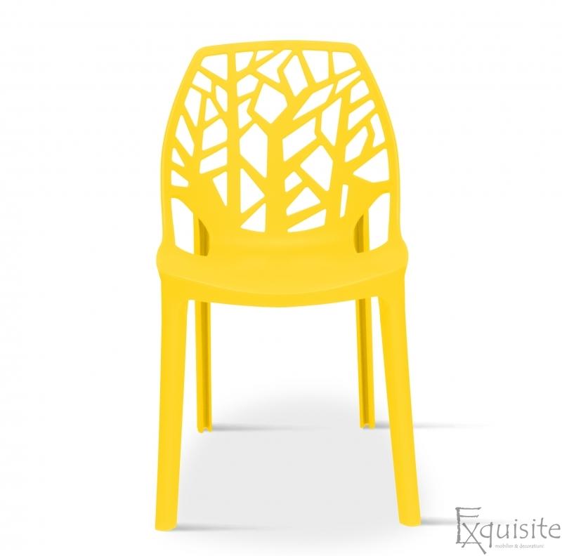Scaun stivuibil pentru terasa, plastic galben, EX0931