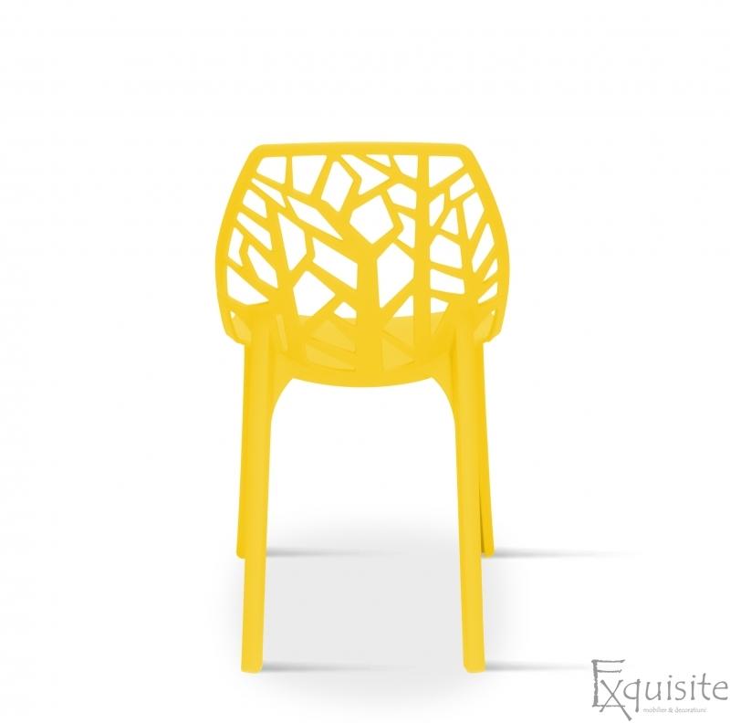 Scaun stivuibil pentru terasa, plastic galben, EX0935