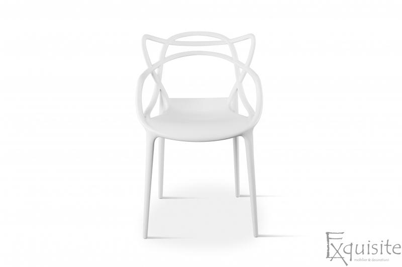 Scaun pentru terasa, alb, design Masters Set 4 Scaune, EX0911