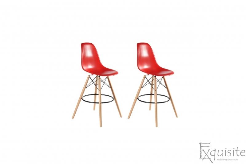 Scaune de bar din plastic cu picioare din lemn - Set 2 bucati - diverse culori7
