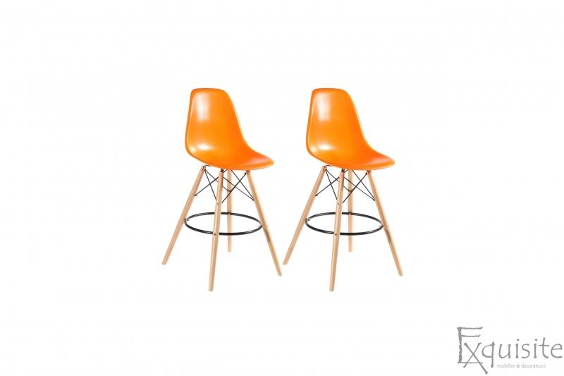 Scaune de bar din plastic cu picioare din lemn - Set 2 bucati - diverse culori5