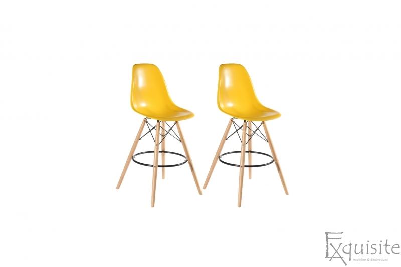 Scaune de bar din plastic cu picioare din lemn - Set 2 bucati - diverse culori1
