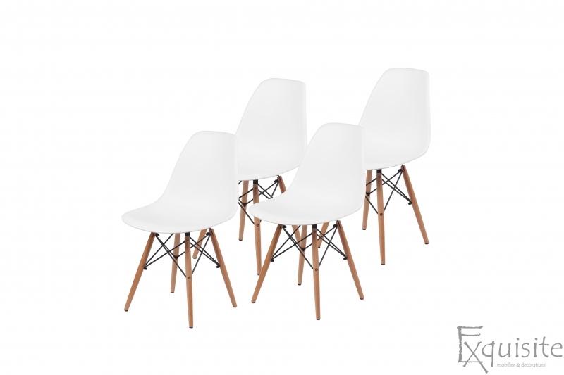 Scaune de bucatarie - Set 4 bucati - design modern cu picioare din lemn, EX071, alb 1