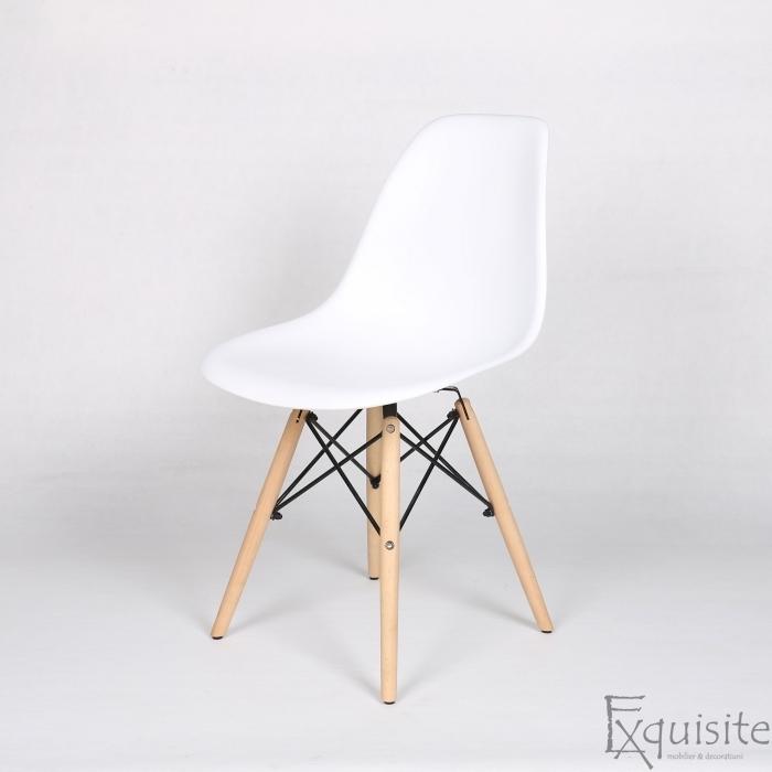 Scaune de bucatarie - Set 4 bucati - design modern cu picioare din lemn, EX071, alb 3
