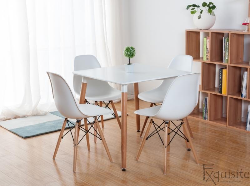 Scaune de bucatarie - Set 4 bucati - design modern cu picioare din lemn, EX071, alb 5
