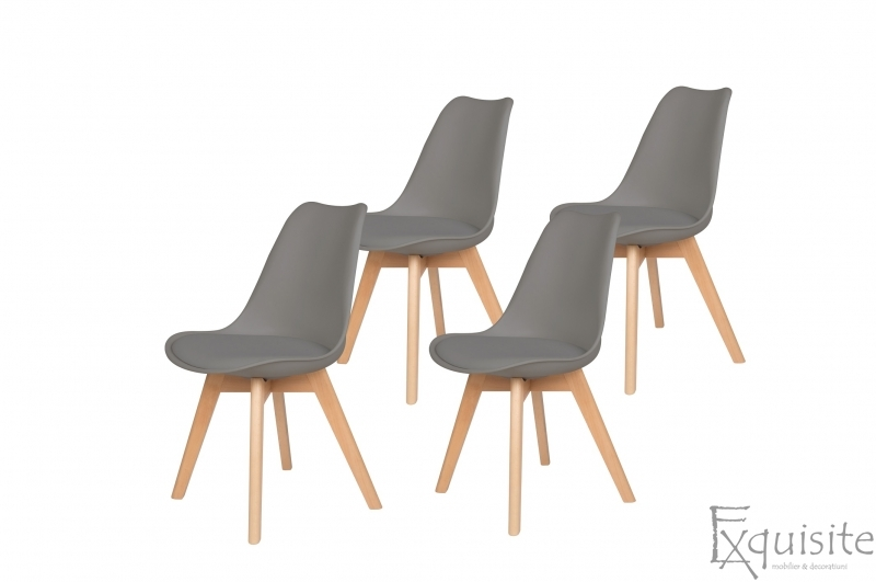 Scaune de bucatarie - set 4 bucati - tapitat cu piele ecologica, design Eames, colorate7