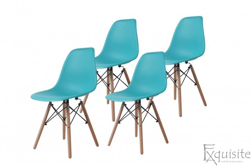 Scaune de bucatarie cu picioare din lemn - Set 4 scaune 10