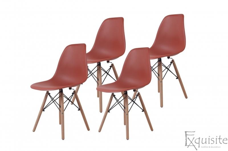 Scaune de bucatarie cu picioare din lemn - Set 4 scaune 7