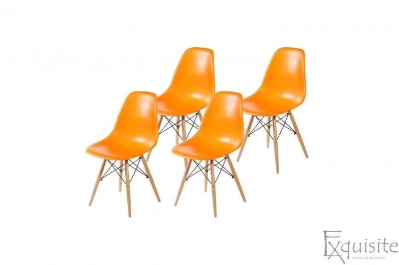 Scaune de bucatarie cu picioare din lemn - Set 4 scaune 4