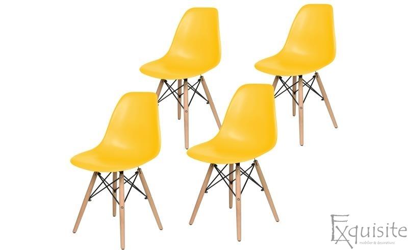 Scaune de bucatarie cu picioare din lemn - Set 4 scaune 3