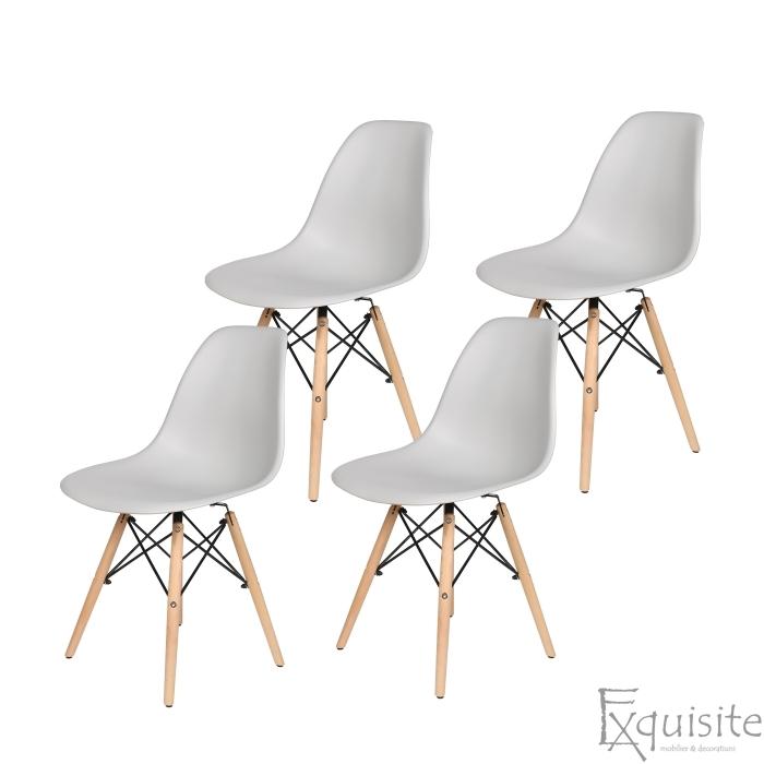 Scaune de bucatarie cu picioare din lemn - Set 4 scaune 5