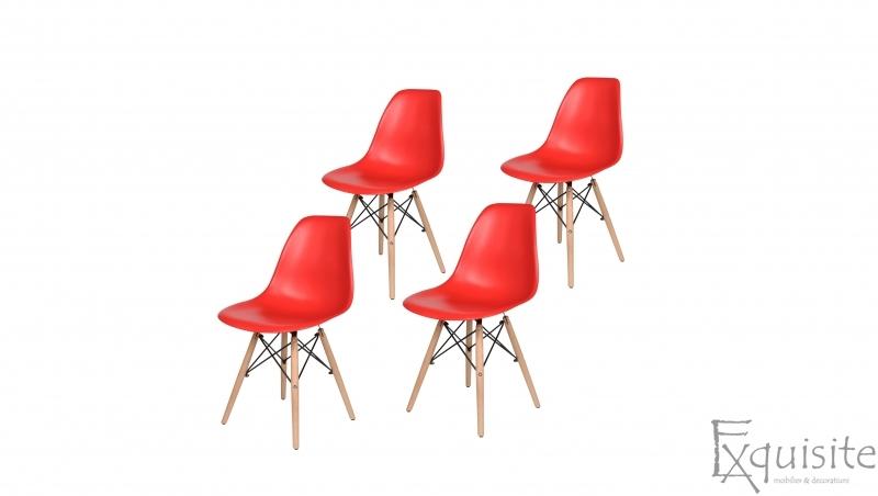 Scaune de bucatarie cu picioare din lemn - Set 4 scaune 2