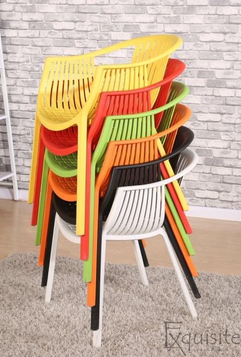 Scaune de bucatarie din plastic - Set 4 Scaune - galben, verde, alb, portocaliu, negru, rosu6