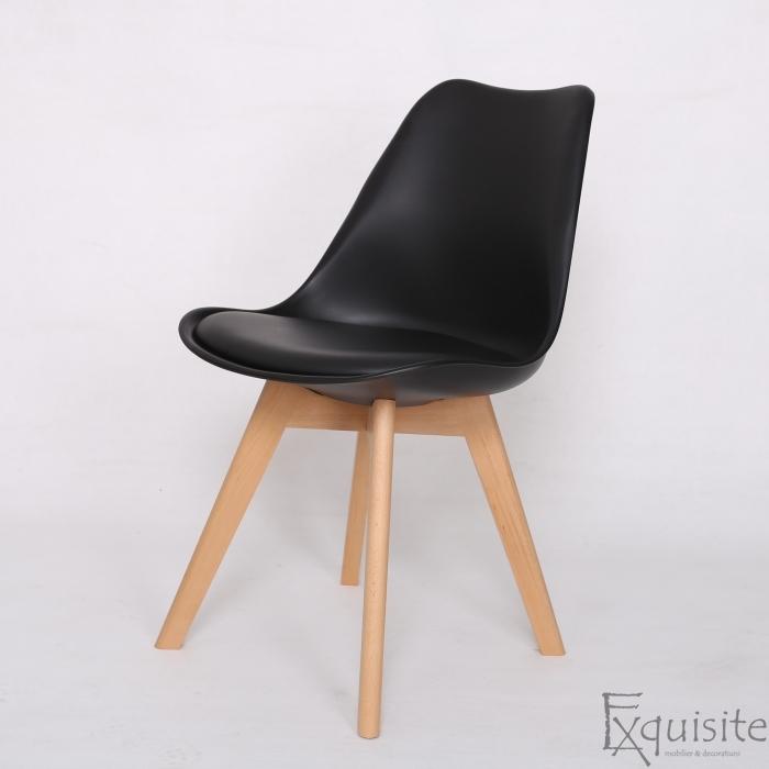 Scaune negre, sezut din piele ecologica, Set 4 scaune3