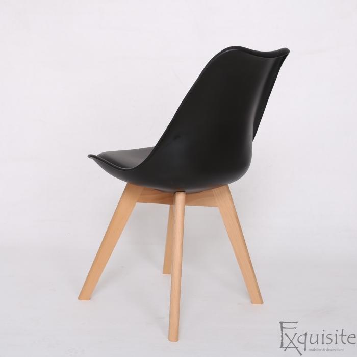 Scaune negre, sezut din piele ecologica, Set 4 scaune5