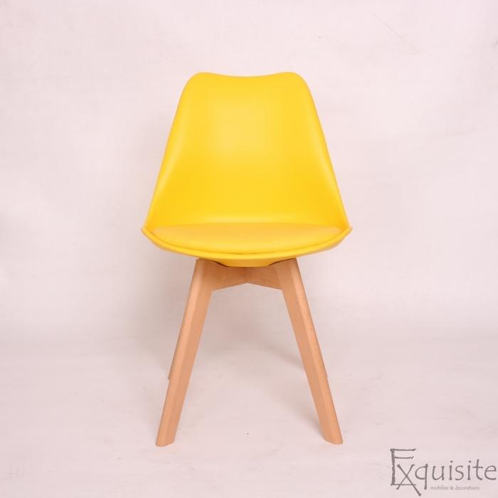 Scaun galben din plastic cu piele ecologica, Set 4 bucati1