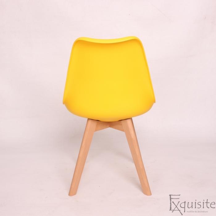 Scaun galben din plastic cu piele ecologica, Set 4 bucati5