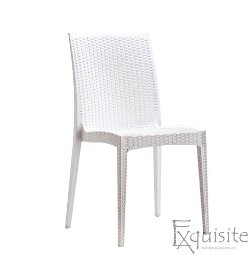 Scaun din plastic pentru terasa, Set 4 bucati, imitatie ratan, maro3