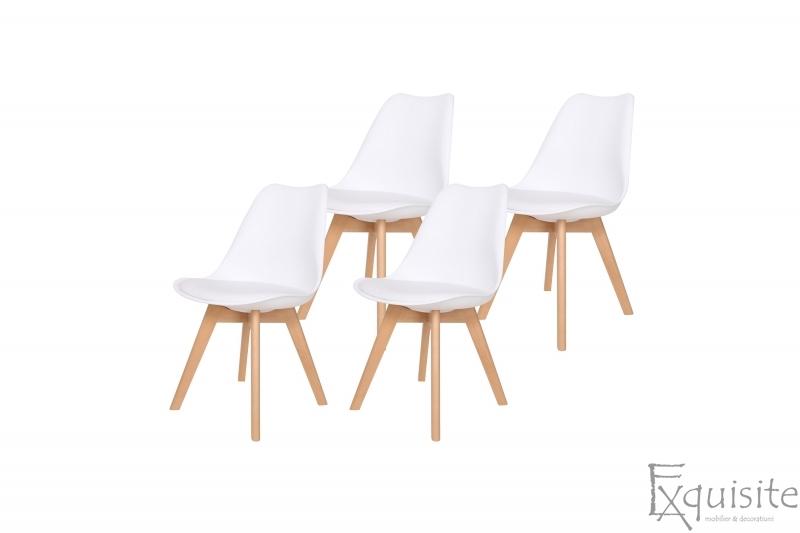 Scaune de bucatarie - set 4 bucati - tapitat cu piele ecologica, design Eames, colorate6