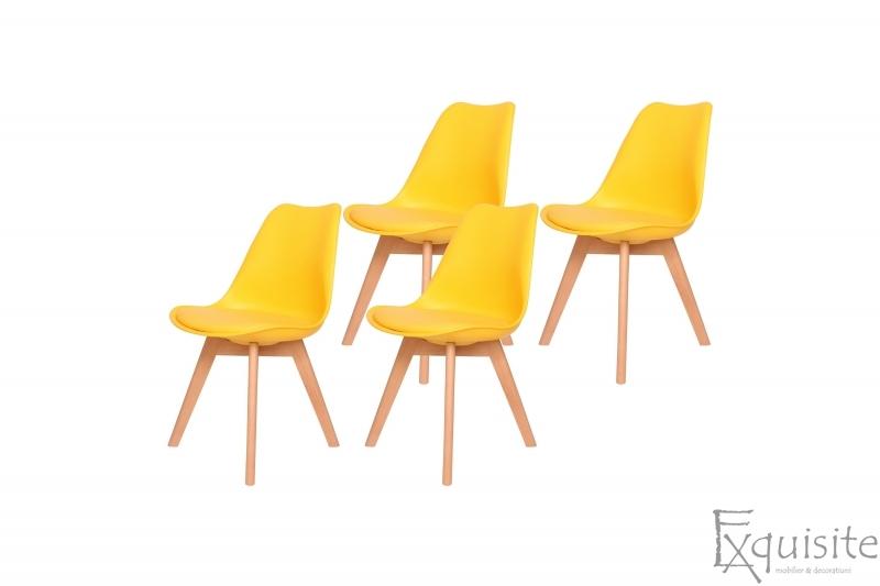 Scaune de bucatarie - set 4 bucati - tapitat cu piele ecologica, design Eames, colorate1