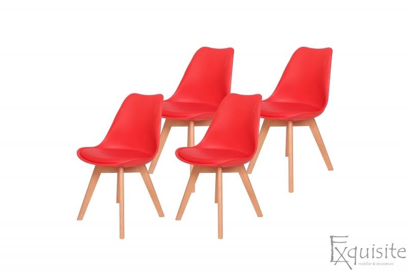Scaune de bucatarie - set 4 bucati - tapitat cu piele ecologica, design Eames, colorate4