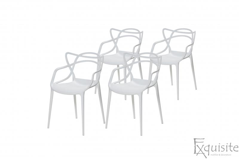 Scaune moderne de bucatarie din plastic - Set 4 Scaune - design Masters 4