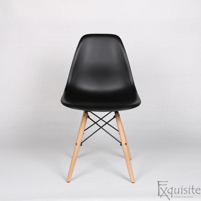Scaune living, bucatarie, set 4 bucati, tip Eames, negru3