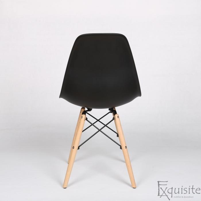 Scaune living, bucatarie, set 4 bucati, tip Eames, negru5