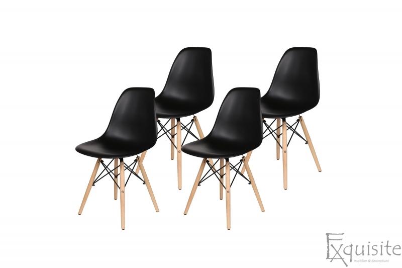 Scaune living, bucatarie, set 4 bucati, tip Eames, negru1
