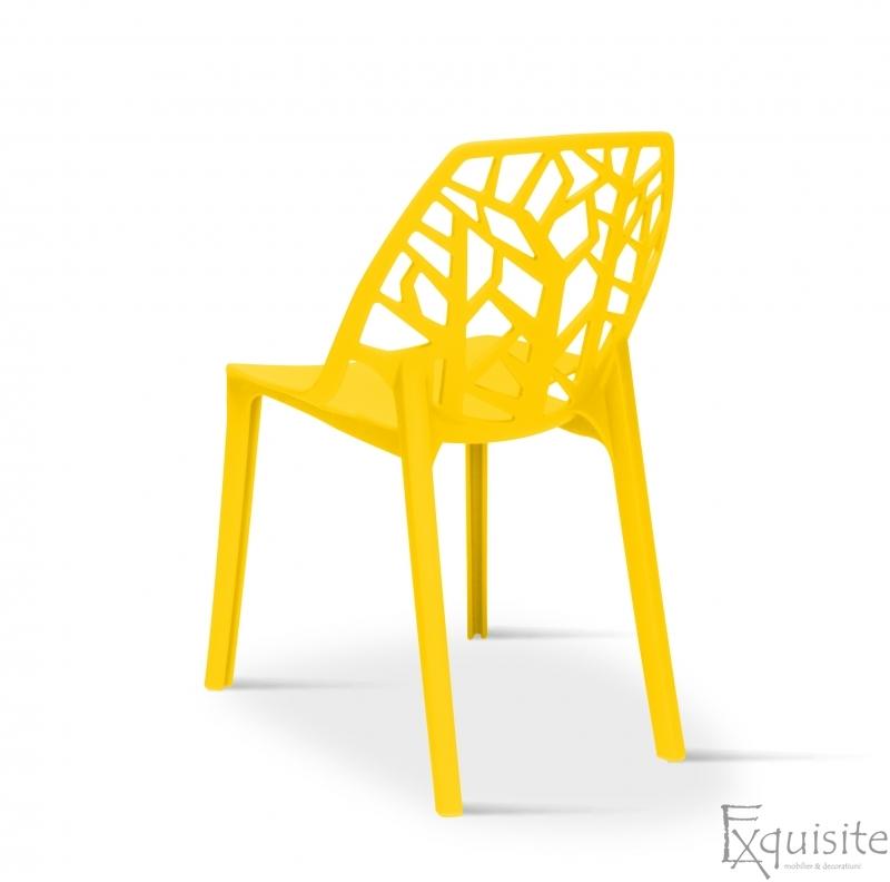 Set 4 scaune pentru terasa, PP, rezistente, galben 3