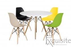 Masa rotunda din MDF 100cm cu 4 scaune pentru bucatarie