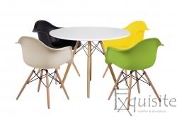 Masa rotunda din MDF cu 4 scaune pentru bucatarie / living