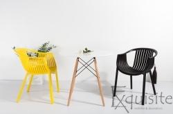 Masa rotunda din MDF 80 x 73cm cu 4 scaune tip Luigi