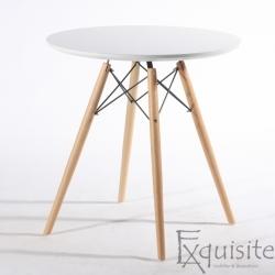 Masa rotunda din MDF cu picioare din lemn, diametru 80cm, blat alb
