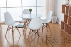 Masa rotunda din mdf cu 4 scaune tip Eames