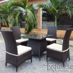 Masa cu scaune din ratan artificial
