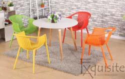 Masa rotunda din MDF cu patru scaune tip Luigi